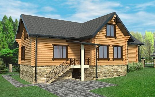Проект одноэтажного дома с мансардой из бревна DS-1-154