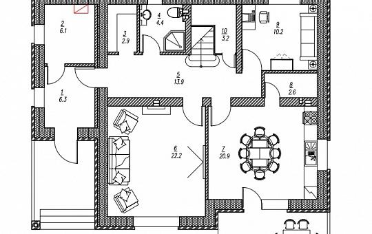 Проект двухэтажного дома DS-2-025