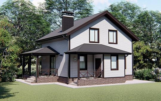 Проект одноэтажного дома с мансардой DS-1-028
