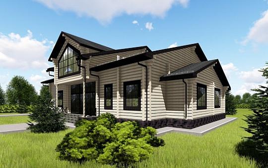 Проект одноэтажного дома с мансардой из клееного бруса DS-1-158