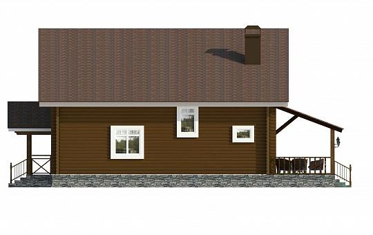 Проект одноэтажного дома с мансардой из оцилиндрованного бревна DS-1-157