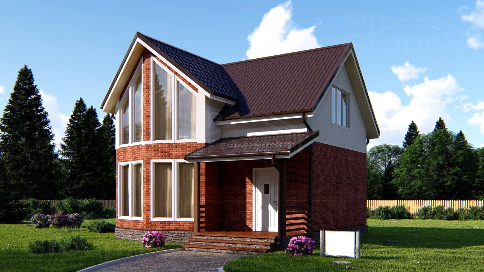 Проект двухэтажного дома из SIP-панелей с мансардой DS-2-145